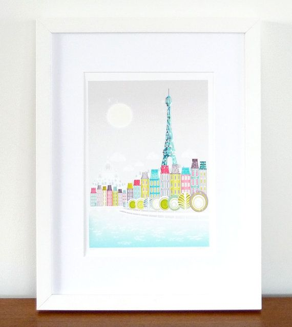 Paris Eiffel Tower / Paris Illustration / Cityscape Art Print  Paris Eiffel Tower, an original illustration of mine.  Printed with pigment inks on