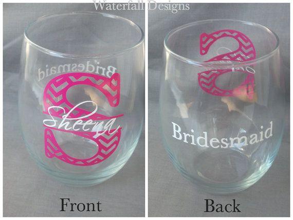 Chevron monogram bridesmaid glass, Stemless Wine glass with monogram and name and title.  Bridesmaid gift idea, Maid of Honor. 1 glass on Etsy, $12.00