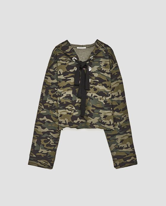 Image 8 of EMBROIDERED CAMOUFLAGE SWEATSHIRT from Zara