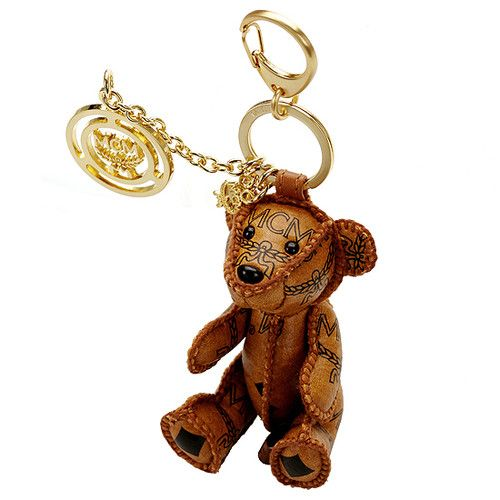 MCM Teddy Bear Cognac Visetos Key Chain Holder Ring Hand ...