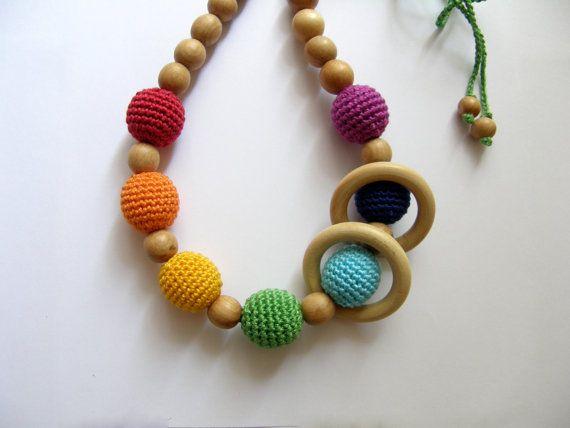 Sale Rainbow juniper nursing necklace with wooden by BestForKids, $21.00