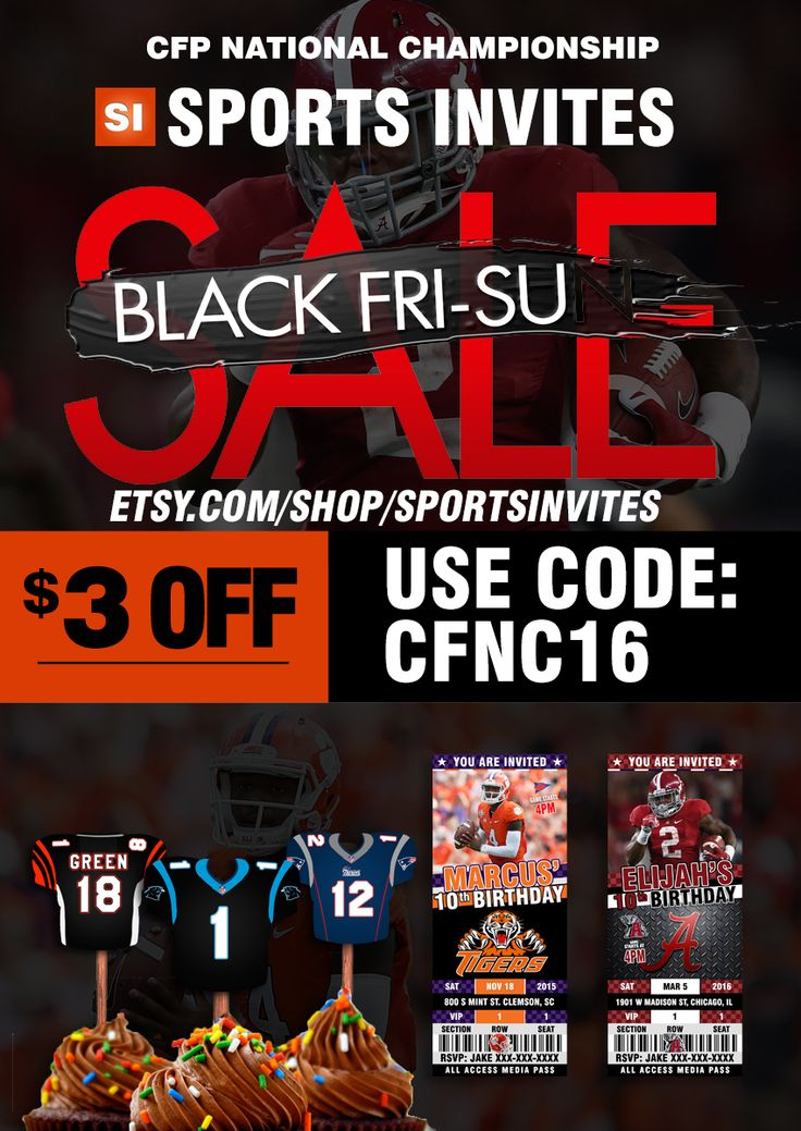 Get $3 OFF all Invite Design This Weekend Only. Use Code CFNC16  #college #football #national #championship #sportsinvites #ticket #style #invitations #invites #birthday #clemson #alabama #rolltide
