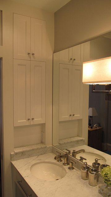 LOVE SHALLOW MEDICINE CABINETS, JUST NOT THE SHAKER DOORS, ALSO LOVE THE SCONCE, JUST ONE ON EACH SIDE OF MIRROR.