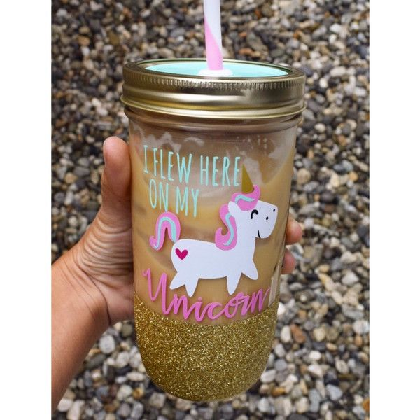 I Flew Here on My Unicorn Mason Jar Tumbler Personalized Tumbler... ($25) ❤ liked on Polyvore featuring home, kitchen & dining, drinkware, drink & barware, gold, home & living, tumblers & water glasses, water cups, colored water glasses and personalized tumblers