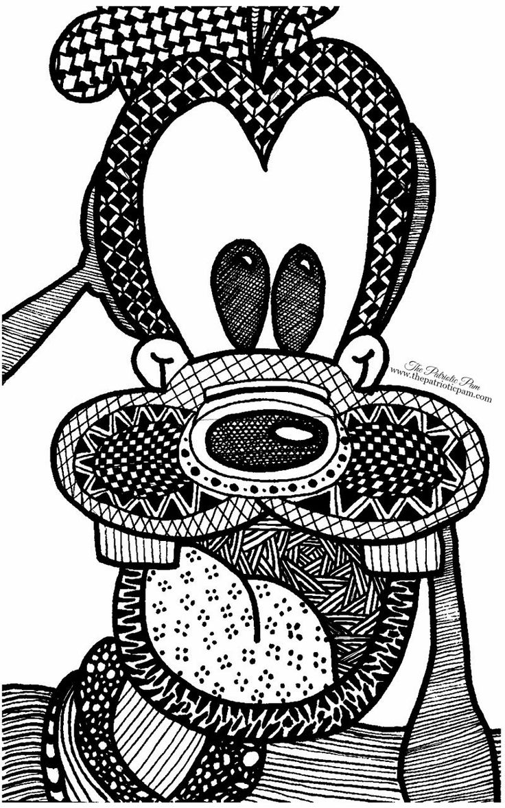 Disney Zentangle Coloring Pages : The patriotic pam zentangled inspired goofy