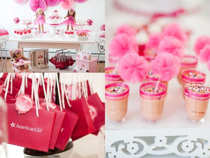 American Girl Doll 9th birthday party with via Kara's Party Ideas | Cake, decor, cupcakes, games and more! KarasPartyIdeas.com #americangirldoll #girlyparty #pinkparty (13)