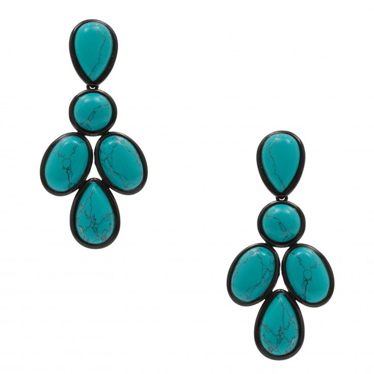 BIJOUXNET - Brinco pedras turquesa - azul