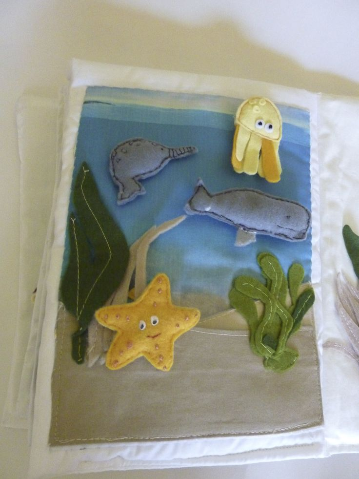 quiet book page, ocean animals.whale,Narwhale and starfish.