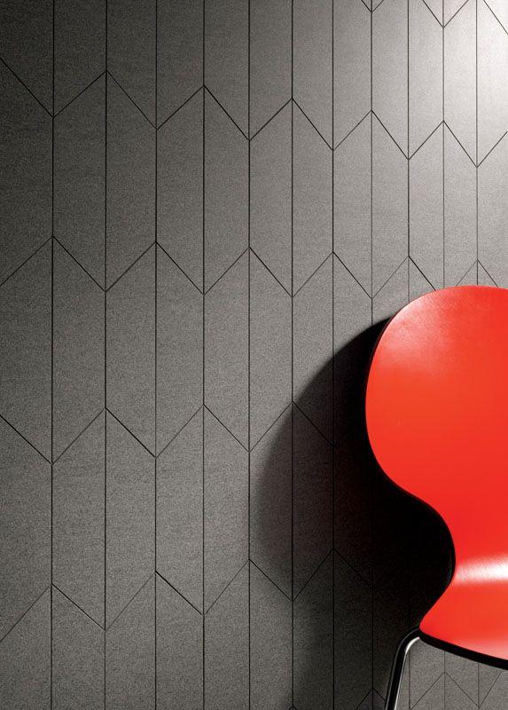 La dalle Slimtech en grès laminé dans les formes rhomboïde, triangulaire et trapézoïdal, pour la création des espaces modernes e tridimensionelles.