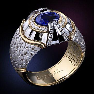 Перстни Estet (Эстет) из белого и желтого золота с сапфиром и  с бриллиантом