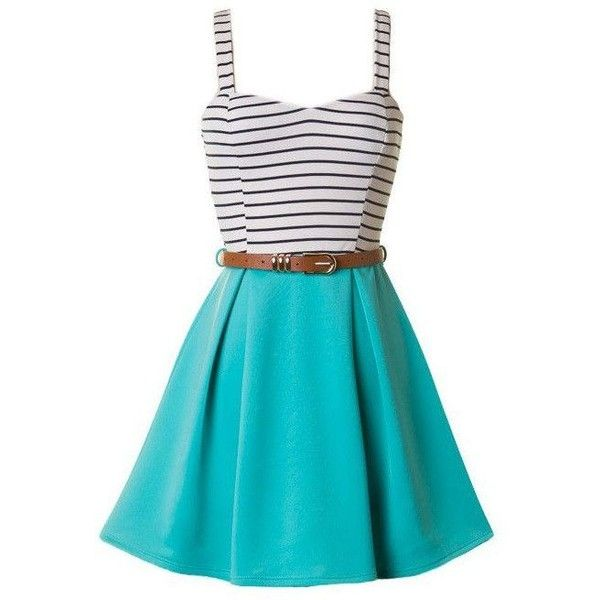Skater Dresses ❤ liked on Polyvore featuring dresses, skater dress, blue dress, blue skater dress and pin dress