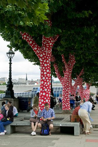tree art on London's Southbank.