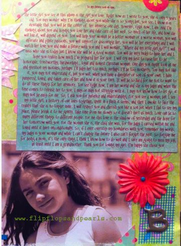 TO MY FUTURE SON / Daughter IN LAW: The little girl you see in this album (I made an entire scrapbook about this) is the girl you love. RIght now as I write to you, she is only 9 yrs old. You may wonder why I'm thinking about you while she is so young but, you see, I know it is inevitable that you will be the center of her universe one day. However, right now, I am. And I'm thinking about you and hoping you love her and take care of her well. So much of her life and how she will love it…