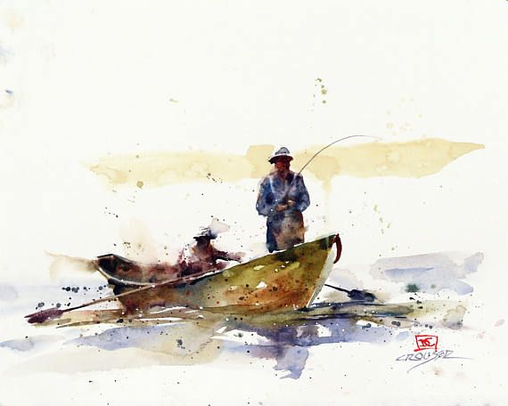 Drift Boat Fishing Watercolor Print By Dean Crouser Watercolor