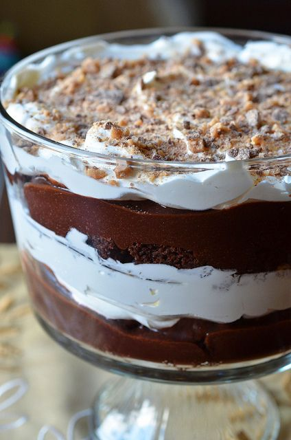 Death by Chocolate Trifle , layers of brownies,homemade mousse,heath toffee and  whipped cream.....crowd pleaser!!