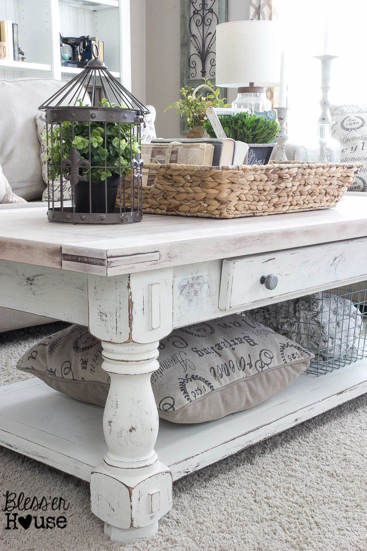 Chippy White Lime Finished Coffee Table | Bless'er House -  Love the lime waxed natural top!
