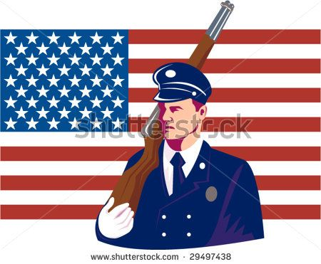US military serviceman marching with rifle and flag in the background - stock vector #serviceman #retro #illustration