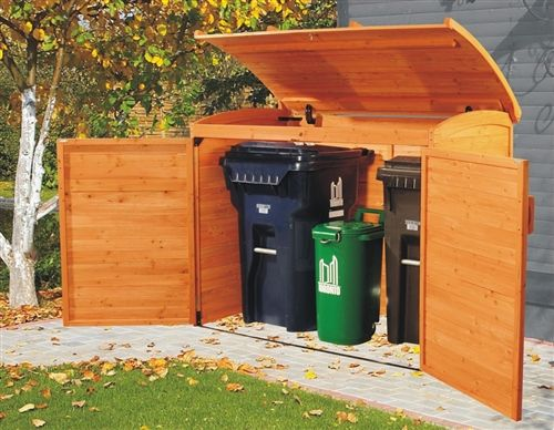 What a great way to hide those ugly garbage cans!