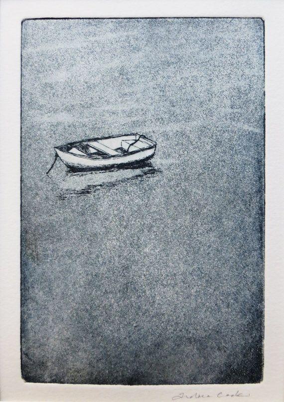 original eau-forte et Aquatinte d'une barque avec par atelier28