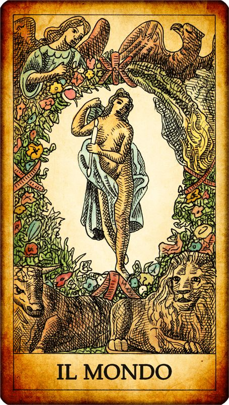 The World. N. 21. A naked or half-naked woman, enclosed within an oval wreath, with one leg slightly bent, holding one or two magic wands. At the corners of the map, however the symbols of the four evangelists: an angel (Matthew), a lion (Mark), a bull (Luke), and an eagle (John). The world is one of the most positive tarot cards; It represents purity and harmony, creation and human knowledge. Reversed card: we will succeed but not acting properly.