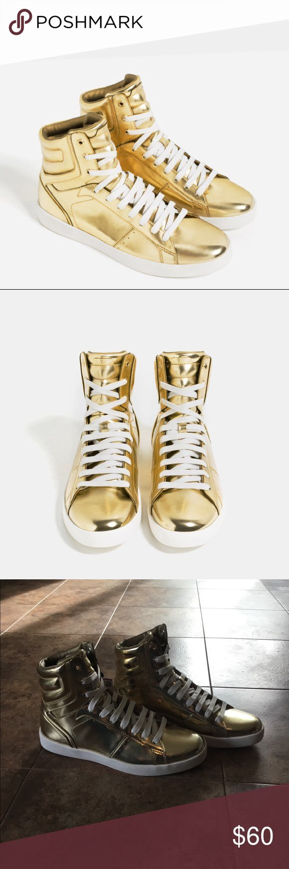 NWT ZARA MAN Gold High Top Sneakers NWT Zara Man Gold High Top Sneakers. Flashy and fun! Euro size 41 US size 8. Zara Shoes Sneakers