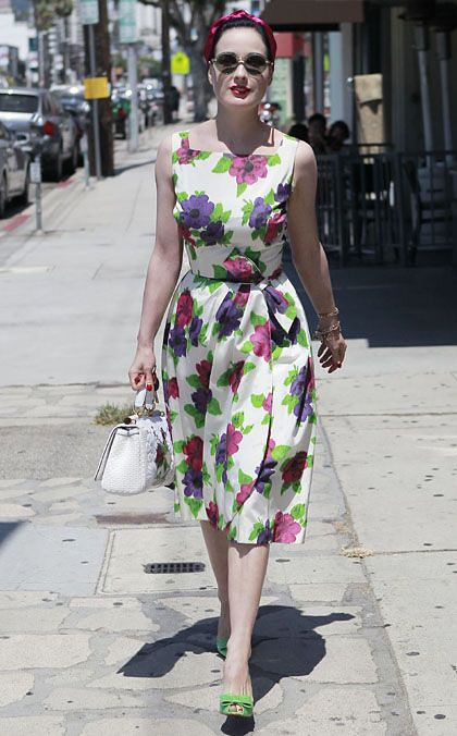 Dita Von Teese out and about in Hollywood wearing a floral dress and green shoes.  Perfection!