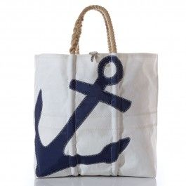 Carry everything, and we mean everything, with this Sea Bags X-Large Navy Anchor tote -Handcrafted from Recycled Sails.