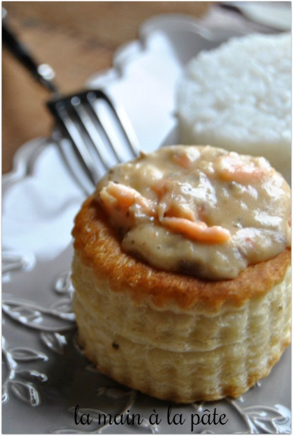 Bouchées feuilletées au saumon, crevettes et champignons                                                                                                                                                                                 Plus