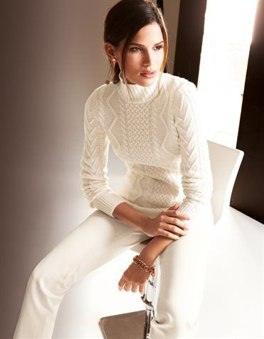Madeleine✤winter white Isle of Aran look from Ralph Lauren.