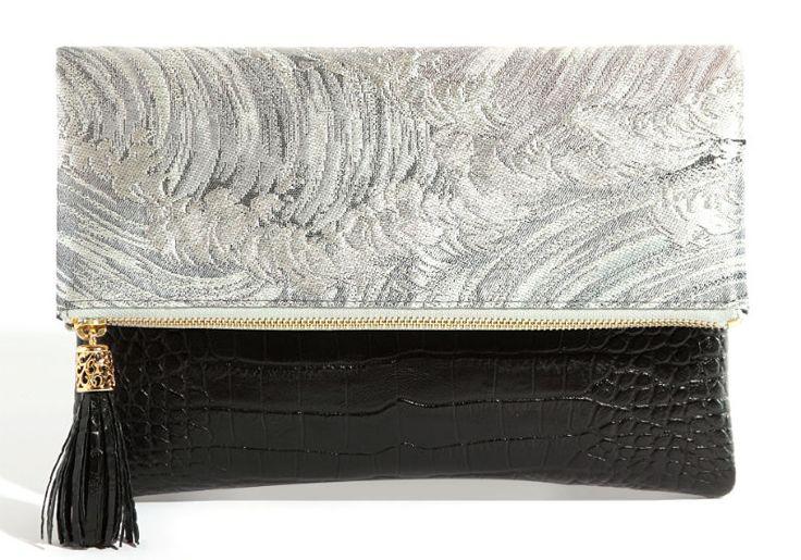 [Obi Bag] Obi Tussle Clutch Bag : Nami, Silver Wave