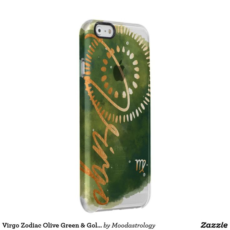 #Virgo Zodiac Olive Green & Gold Watercolour Galaxy Clear iPhone 6/6S Case #phonecase #zazzle by #MoodAstrology