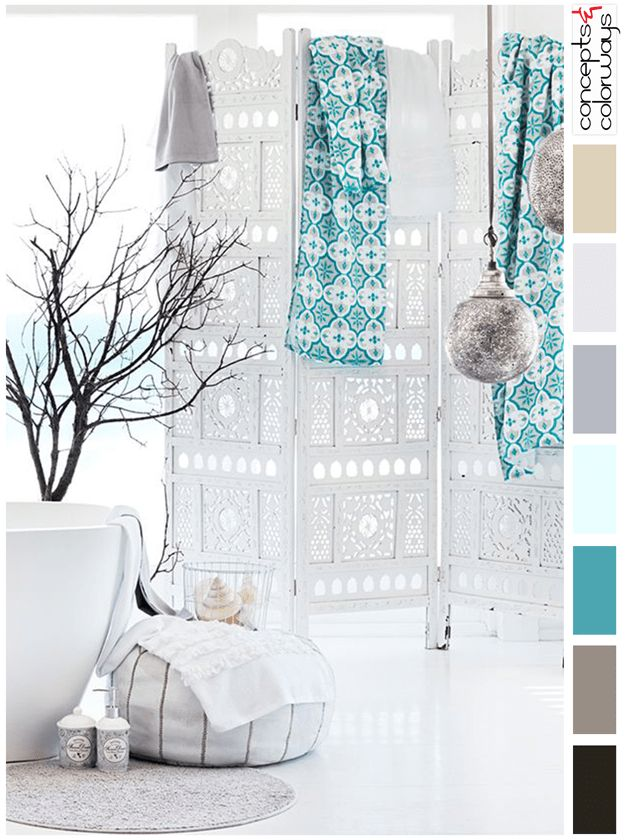 turquoise and white interior color palette, sherwin williams freshwater, warm black, brown, sky blue, lilac gray, golden beige, moroccan style interior, turkish interior