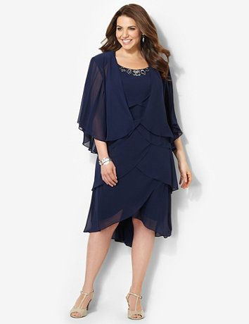 Elegant, two-piece style drapes beautifully for a graceful look. Silky, pull-on dress features tiered, angled cuts that flatters your shape. Shining sequins and simulated stones accent the neckline. A sheer jacket layers over top with wide flutter sleeves. Complete with comfortable shoulder pads. Catherines dresses are expertly designed for the plus size woman. catherines.com