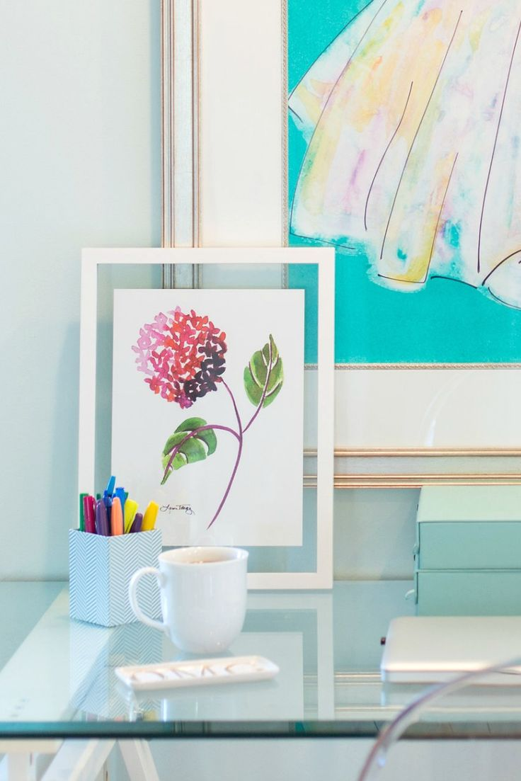"Pink Hydrangea watercolor art print in Room Essentials 11""x15"" floating frame from Target - Home Office Accessories and Decor"