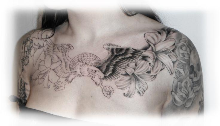 Small Chest Tattoos For Women   Idag började jag på Malins chestpiece. En örn och ett gäng liljor ...