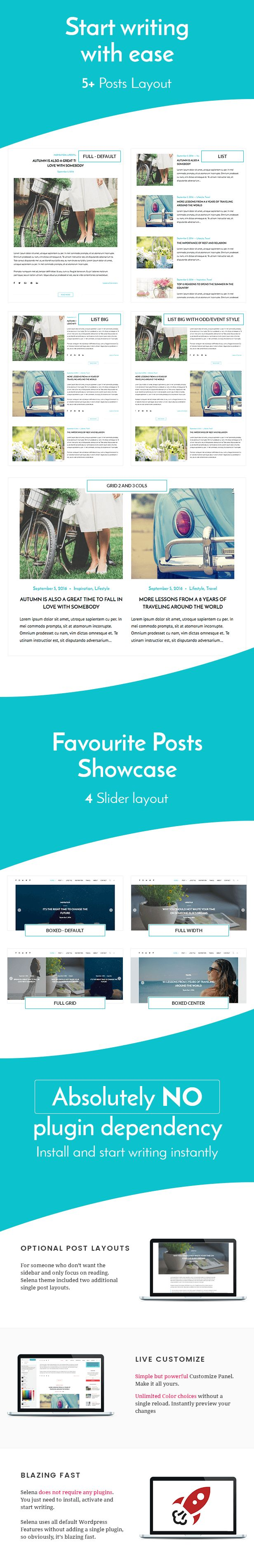 Selena  Personal WordPress Blog Theme (Personal)  Selena is a personal blog theme for WordPress with modern and clean design it has everything you need to start your own blog. Its very easy to use and power your imagination with live customize panel. You can select from 5 post layout styles for your homepage and pick other one for all archive pages select from 2 layouts for single post view select from 4 layouts for banner slides and more  Selena does not require any additional plugins to…