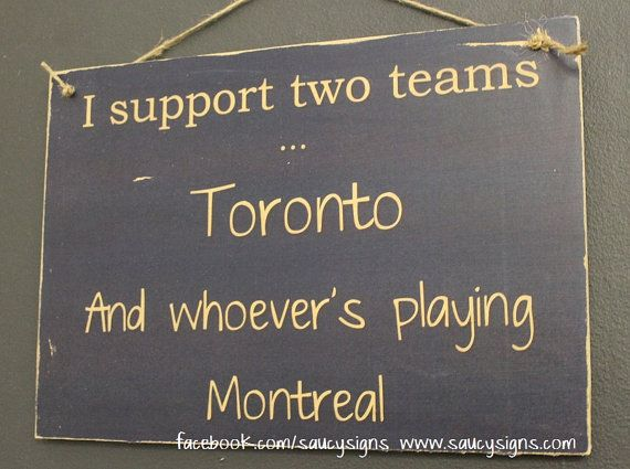 Toronto versus Montreal Hockey Sign - Maple Leafs v Montreal Canadiens NHL Team Rivalry