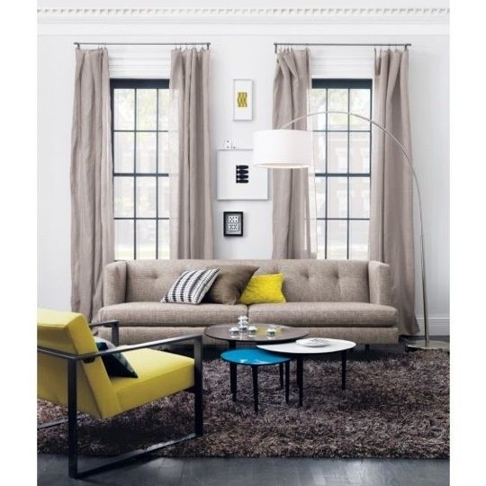 .: Decor, Living Rooms, Color Schemes, Big Dipper, Memorial Tables, Tweed Sofas, Arc Floors Lamps, White Wall, Shag Rugs