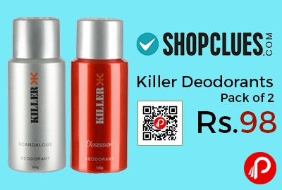 Shopclues #JawDroppingDeals is offering Killer Deodorants Scandalous & Obsession Pack of 2 at Rs.98 Only. its a Exclusive Shopclues Offer. Scandalous & Obsession Fragrance.  http://www.paisebachaoindia.com/killer-deodorants-pack-of-2-at-rs-98-only-exclusive-shopclues-offer-shopclues/