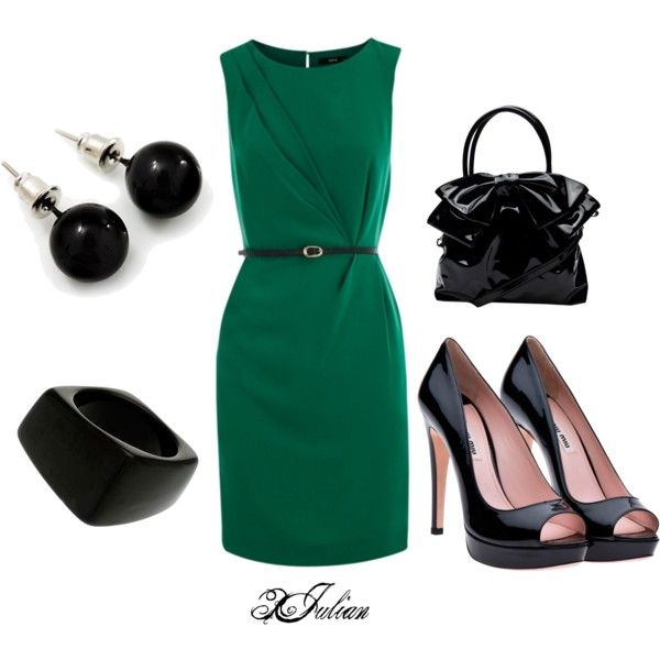 Green and Black Business, created by broncos15.polyvore.comBusiness Outfit
