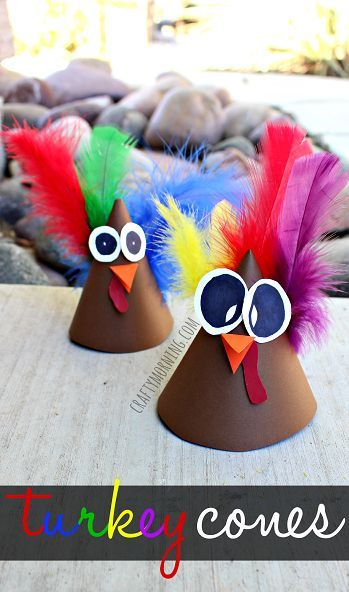 turkey cone craft party hat idea thanksgiving craft for kids craftymorning - Pictures Of Turkeys For Kids 2