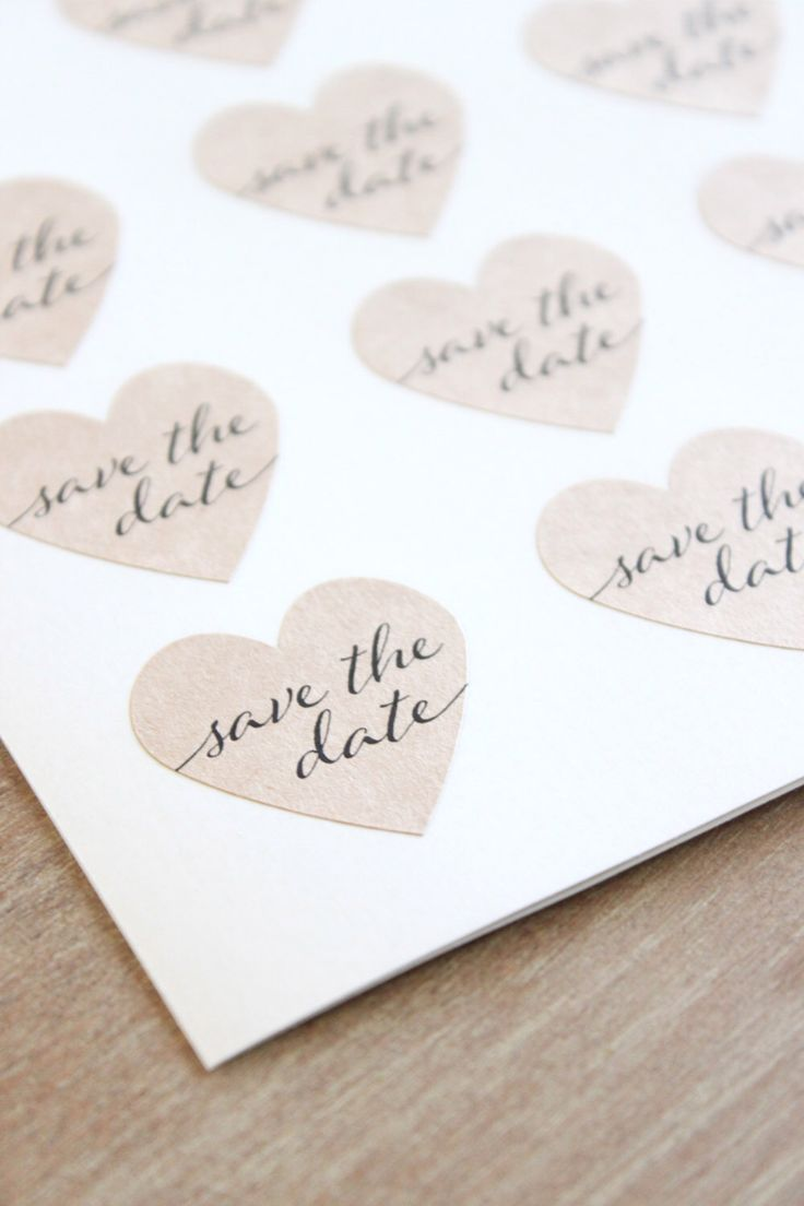 Kraft Heart Save the Date Stickers Engagement