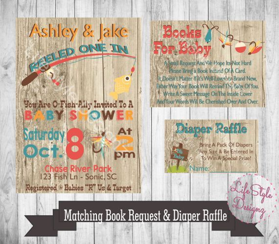 fishing baby shower invitation they reeled one in little boy baby baby shower fish rustic baby shower fishing rod