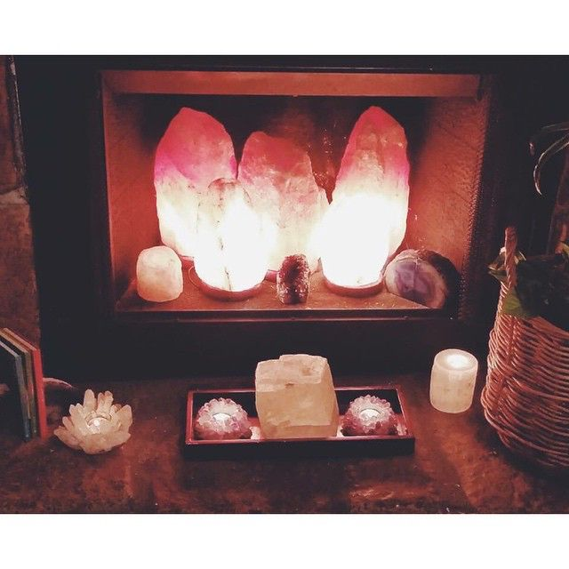 Himalayan Salt Rock Lamp fire place. | Salt Rocks clean the energy of your space