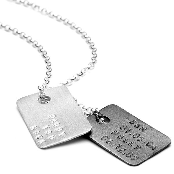 Personalised double dog tag necklace