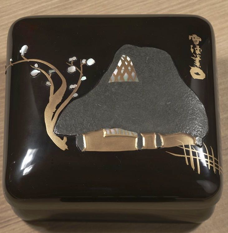 Small Box with Country House, 1920s.  Kamisaka Sekka. Japanese lacquer.  Gold, lead, maki-e lacquer, and mother-of-pearl on wood. MIA