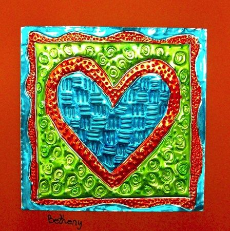 Textured foil hearts. More