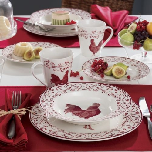 16 Piece Rooster Toile Dinnerware Set From Through The Country Door®