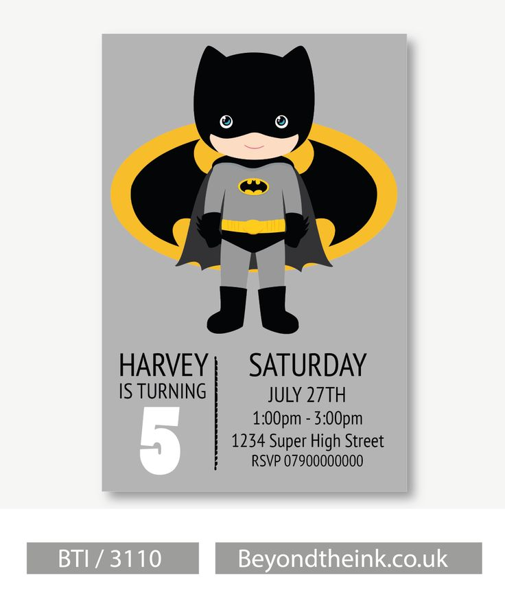 Personalised Batman Invitations. Printed on Professional 300 GSM smooth card with free envelopes & delivery as standard. www.beyondtheink.co.uk