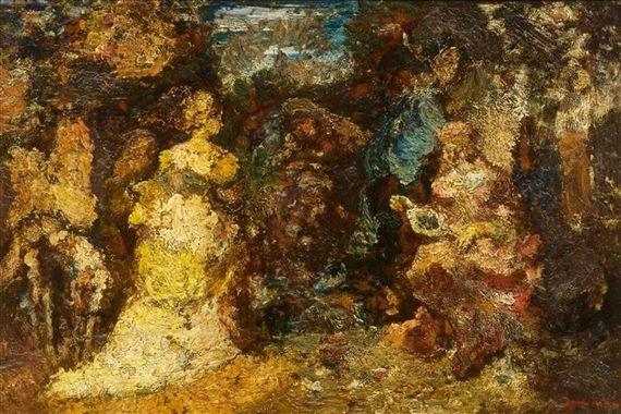 Adolphe-Joseph-Thomas Monticelli, Parkland with figures